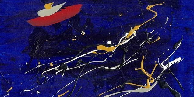 Una de las obras abstractas del artista realizadas con la técnica del dripping