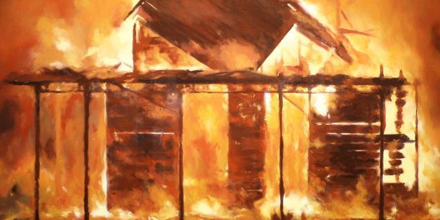La imatge d'un gran incendi serveix per anunciar l'exposició