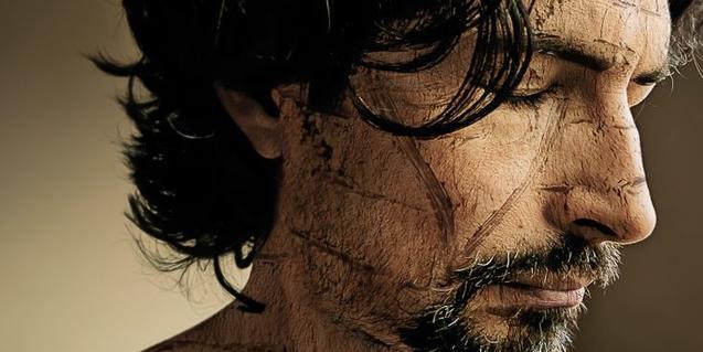Un dels autoretrats de l'artista amb la cara marcada per tot de línies rectes
