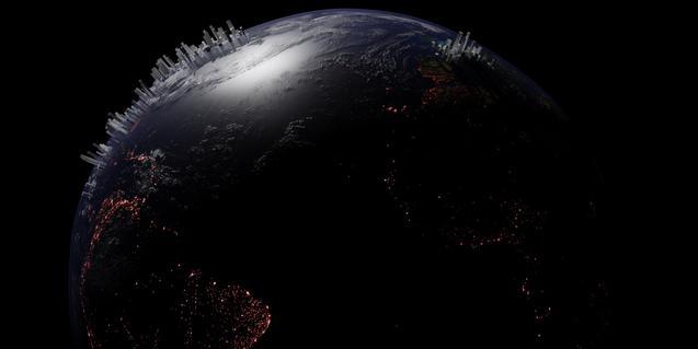 Una imatge del planeta Terra amb el perfil d'unes ciutats gegantines que deixen veure els edificis des de l'espai