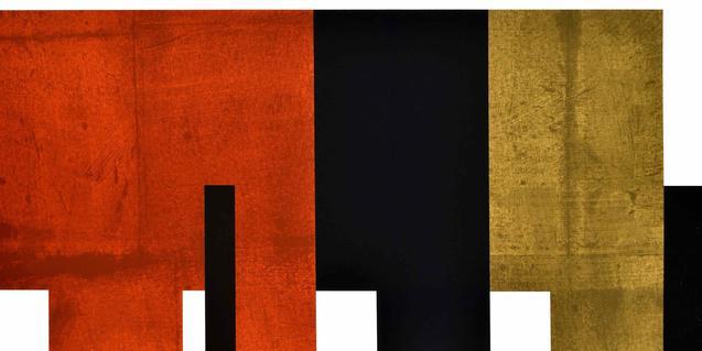Una de las obras de arte concreto de Adolfo Estrada que muestra figuras geométricas negras y rojas de contornos bien definidos