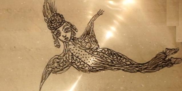 Un dels dibuixos de l'artista i mèdium Josefa Tolrà que mostra una mena d'àngel