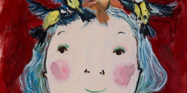 Uno de los dibujos de la artista muestra la cabeza de una chica con pájaros en el cabello