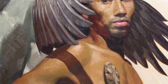 Un fragmento de esta obra que muestra un hombre desnudo con unas alas y una serpiente subiéndole por el pecho