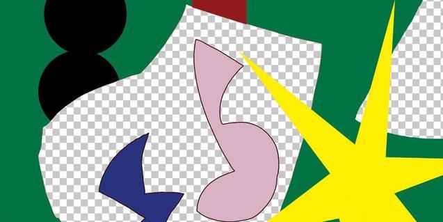 Un fragment d'una obra abstracta que es pot veure a l'exposició i que mostra formes diverses de colors vius