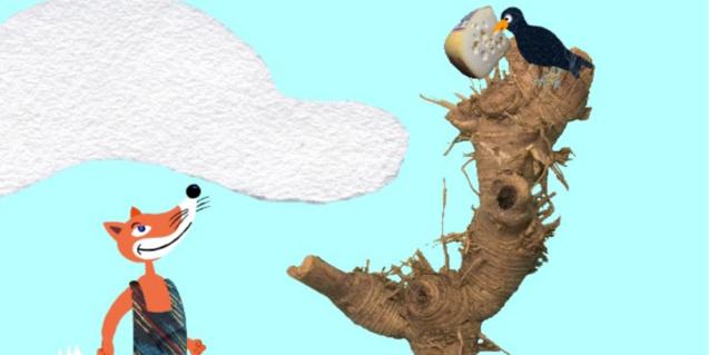 La guineu i el corb, protagonistes d'una de les faules.