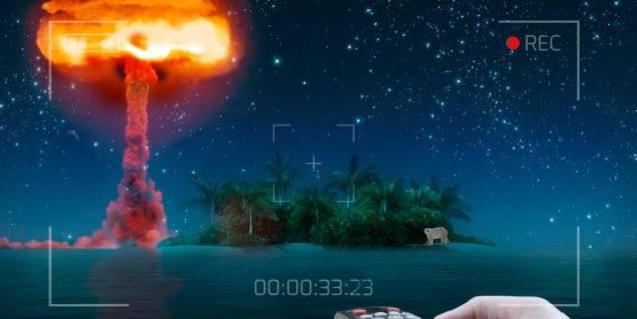 Una explosión atómica sobre una isla en el cartel que anuncia el espectáculo
