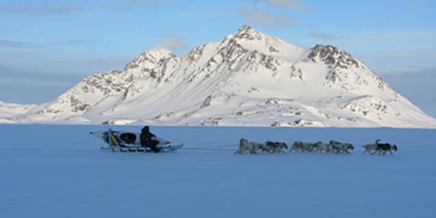 Caçador inuit en trineu de gossos, una de les instantànies de l'exposició