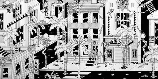 Una de les imatges de ciutats del futur imaginades per l'artista