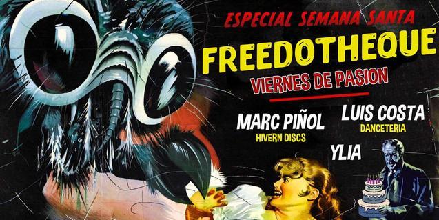 Un cartel de una antigua película de terror de serie B anuncia la fiesta de aniversario del Freedonia