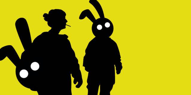 DIbuix amb la silueta de dos actors disfressats de conill