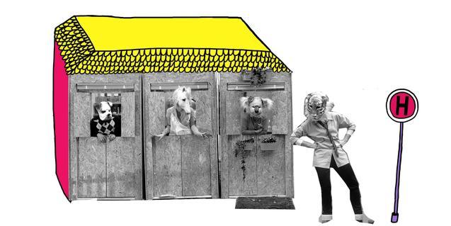 Cartell d'un dels espectacle reprogramats que mostra un edifici habitat per animals