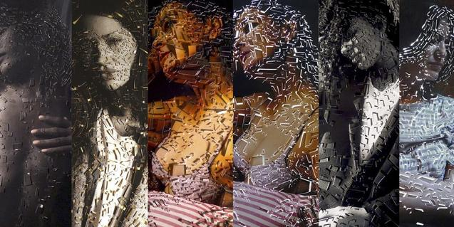 Algunos de los retratos fotográficos manipulados que se muestran en la exposición