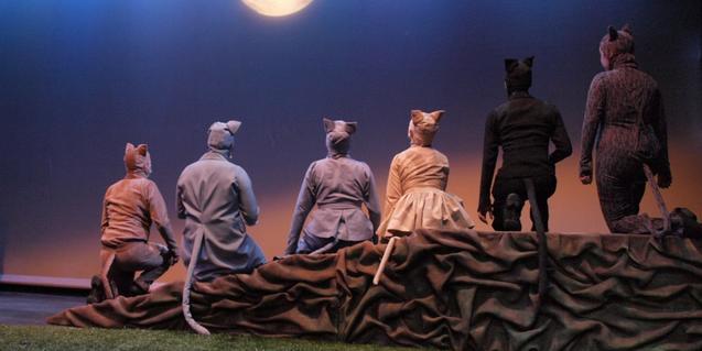 Fotografia de l'espectacle, actors de gats d'esquena