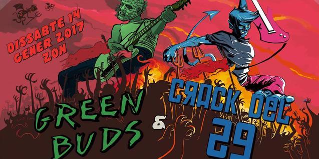 Un cartell amb dibuixos de colors vius anuncia el concert de Green Buds i Crack del 29