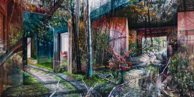 Un dels paisatges surrealistes de l'autor on es barregen interiors i imatges naturals