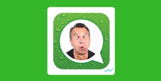 Retrato del cómico montado en el interior del símbolo de la app a la que hace referencia el espectáculo