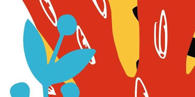 Una de las obras abstractas de colores vivos que se pueden ver en la exposición