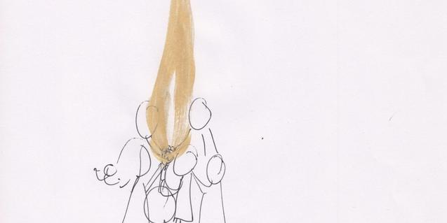 Dibuix esquemàtic d'un grup de nens i nenes al voltant d'una flama