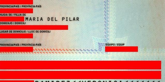 Revers d'un document nacional d'identitat
