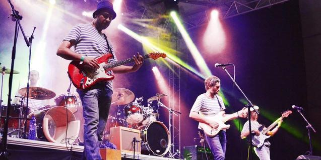 Els integrants de la banda, en ple concert