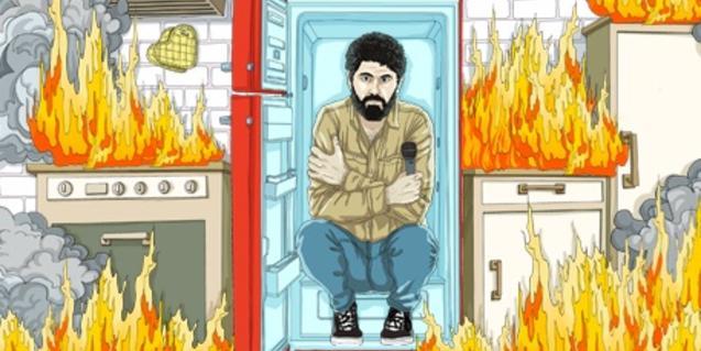 Una ilustración que anuncia el espectáculo y que muestra el protagonista en una cocina, dentro de una nevera y helado de frío