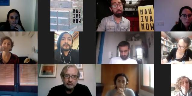 Els participants durant una de les converses del cicle en una pantalla de multiconferències