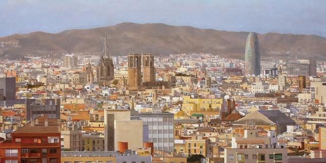 Una obra de Xavier Moreno que muestra una vista de Barcelona
