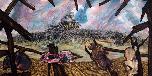 Una escena de guerra en una de les obres de l'artista
