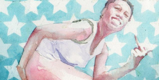 Una de las imágenes robadas del artista muestra un hombre frente a una bandera