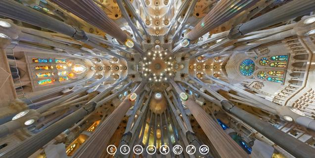 Interior de la Sagrada Família a través de la visita virtual