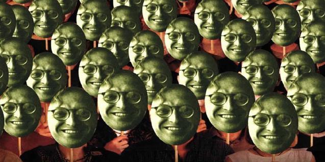 Fotomuntatge que mostra una multitud de persones totes amb la cara de Pere Calders