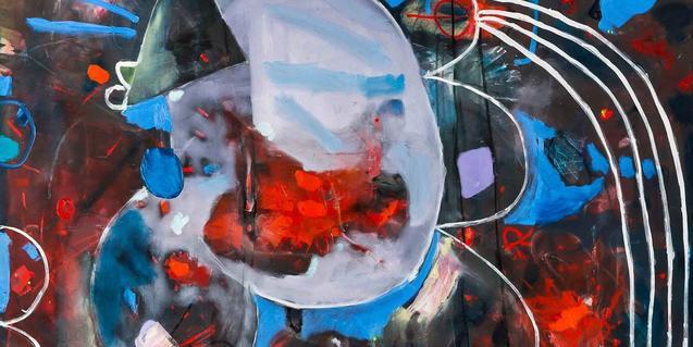 Una obra abstracta del pintor Mark Redden serveix per anunciar la mostra