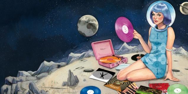 El dibuix d'una noia en un planeta llunyà posant discos amb un escafandre posat serveix de cartell per anunciar la festa