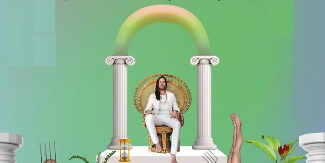 Un fotomontaje muestra al músico sentado en una gran butaca entre dos columnas