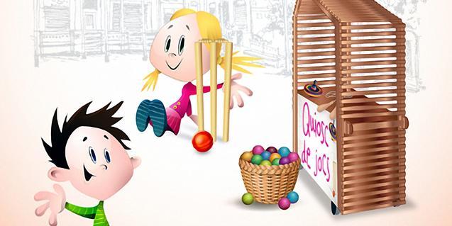 Representació del quiosc de jocs de la plaça del Sol.