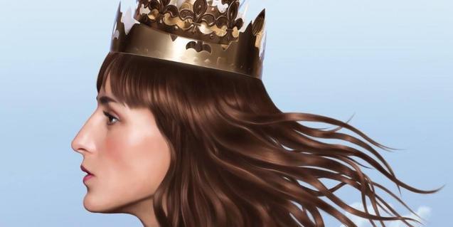 L'artista retratada de perfil i amb una corona al cap