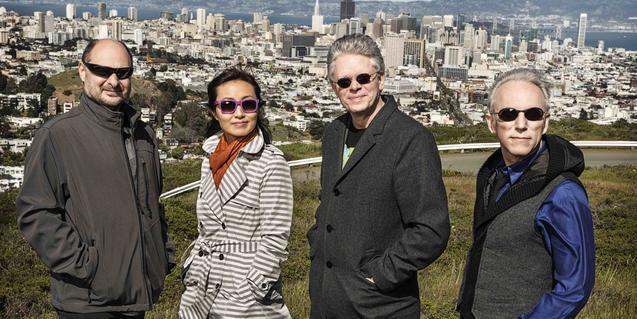 Els integrants d'aquest quartet de música contemporània retratats amb la ciutat de fons