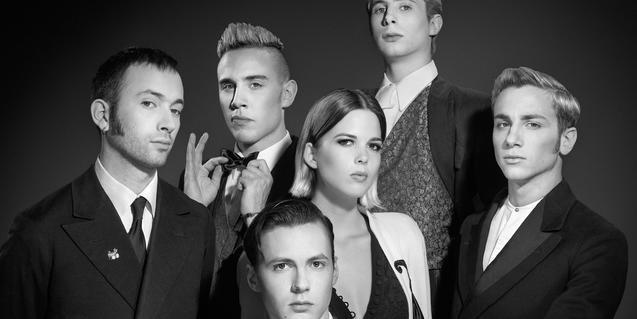Retrat de grup de la banda en blanc i negre i amb estil vintage