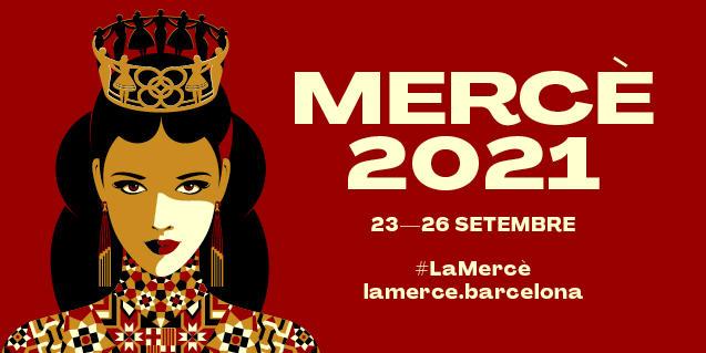 El cartel de la Mercède este año que muestra a la patrona coronada y con unos largos pendientes