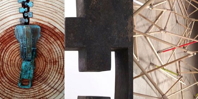 Collage amb imatges de les tres obres seleccionades per a l'exposició