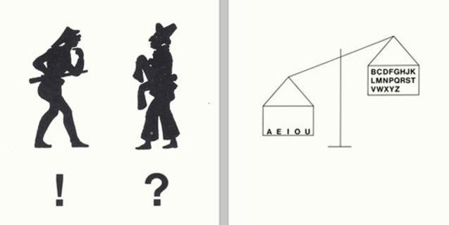 Dos litografías de Joan Brossa, 'Diálogo' y 'Poema visual', presentes en la muestra