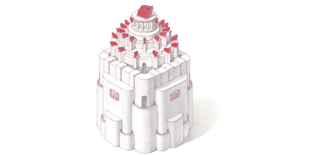 Uno de los dibujos del artista muestra una torre elevada coronada por elementos decorativos de color rojo intenso
