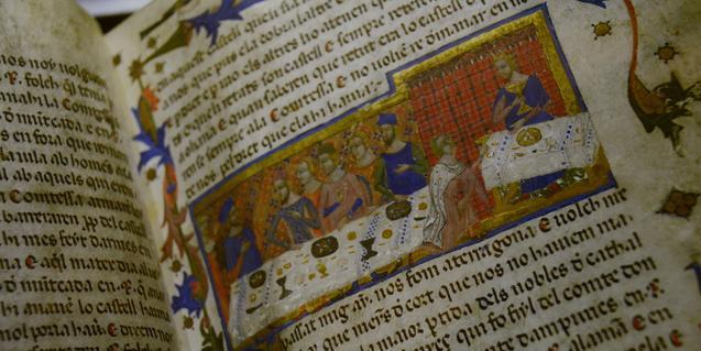 Miniatura procedent del 'Llibre dels fets', de Jaume I, una de les joies que s'exposen