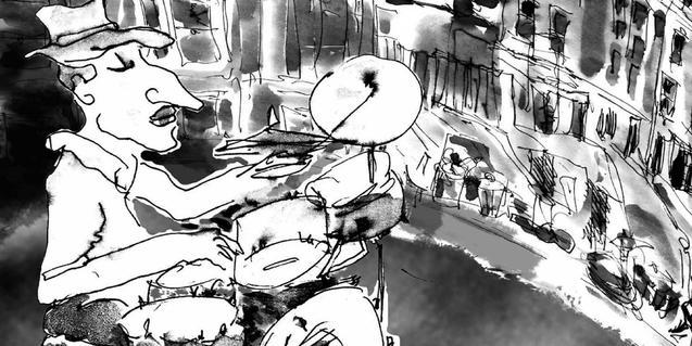 Dibuix d'un músic davant d'una casa okupada a la coberta del llibre que es presenta a Meteoro