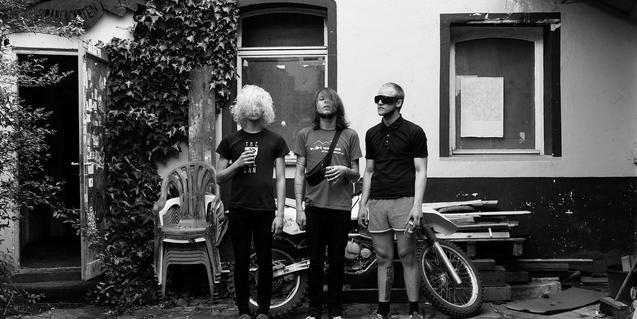 Els integrants de la banda alemanya de punk retratats amb els cabells sobre la cara i ulleres de sol al pati d'una casa