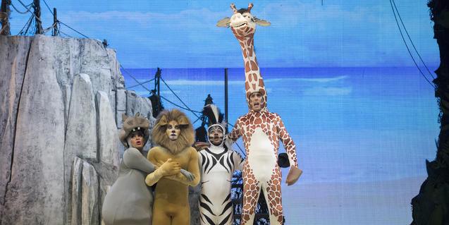 Cuatro de los animales principales en el escenario