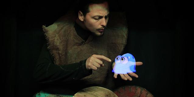 Fotografía del espectáculo de títeres holgráficos de la compañia Holoqué