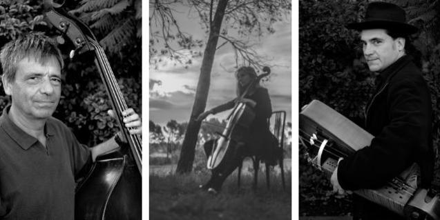 Un collage mostra els tres artistes amb els seus instruments