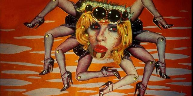 Una araña con rostro y piernas de mujer que aparece en uno de los films de Martha Colburn